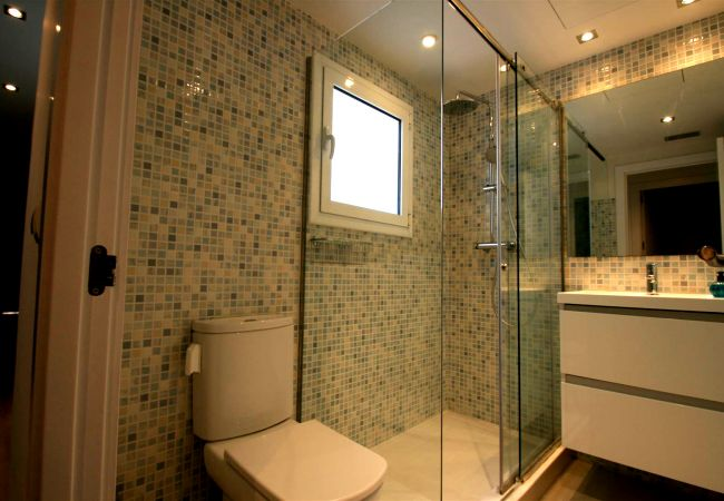 Large glass shower room.